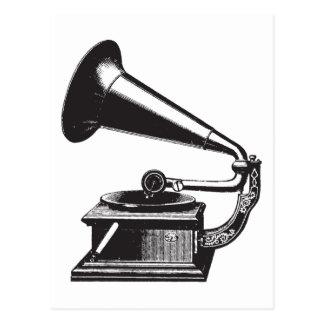Gramófono del vintage postal
