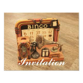 """gramófono miniatura del vintage invitación 4.25"""" x 5.5"""""""