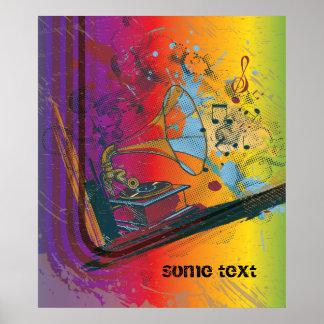 Gramophone on rainbow retro custom print poster