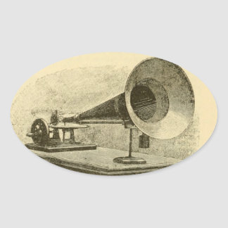 Gramophone Oval Sticker
