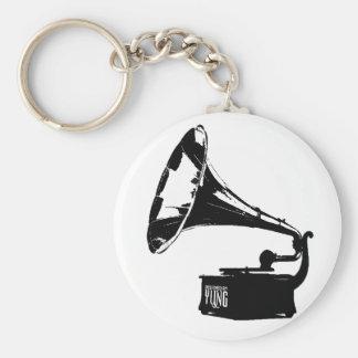 Gramophone Player Basic Round Button Keychain