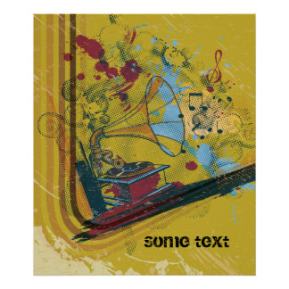 Gramophone retro custom print poster