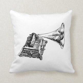 Gramophone Vintage Lineart Throw Pillow