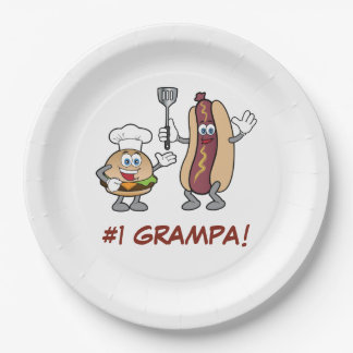 Grampa with Cheeseburger and Hot Dog Cook-Out Paper Plate