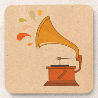gramphone vintage colorful music splashes brown drink coaster