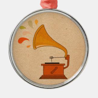 gramphone vintage colorful music splashes brown metal ornament