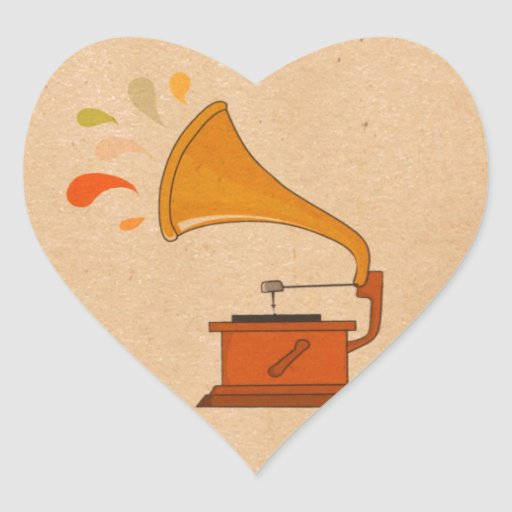 gramphone vintage colorful music splashes brown heart stickers