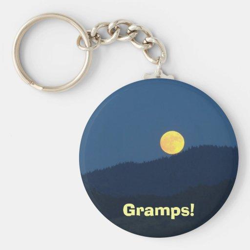 ¡Gramps! crepúsculo anaranjado del azul de la Luna Llavero Redondo Tipo Pin