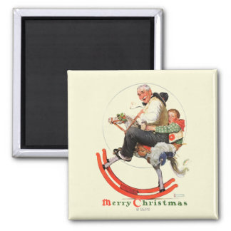 Gramps on Rocking Horse 2 Inch Square Magnet