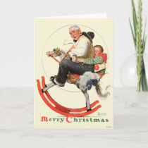 Gramps on Rocking Horse Holiday Card