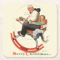 Gramps on Rocking Horse Square Paper Coaster
