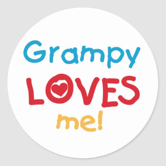 Grampy Loves Me T-shirts and Gifts Classic Round Sticker