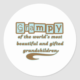 Grampy of Gifted Grandchildren Classic Round Sticker