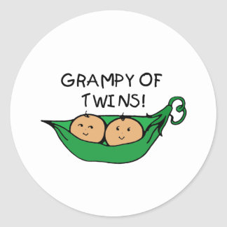 Grampy of Twins Pod Classic Round Sticker