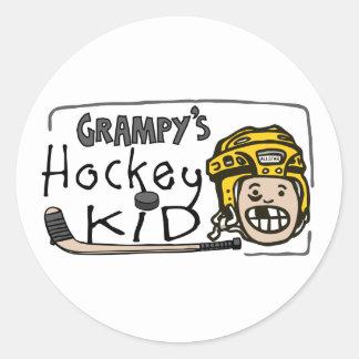 Grampy's Hockey Kid Round Sticker