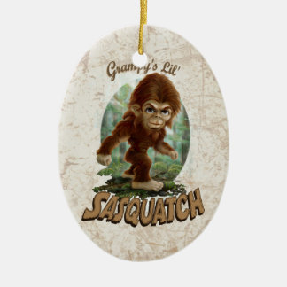 Grampy's Little Sasquatch Double-Sided Oval Ceramic Christmas Ornament