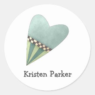 Gram's Garden · Blue Heart Classic Round Sticker