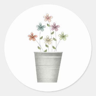 Gram's Garden · Flowers in Bucket Classic Round Sticker