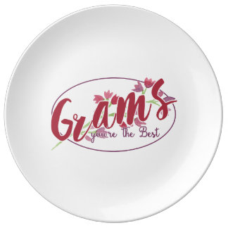 Grams You're The Best Floral1 Porcelain Plate