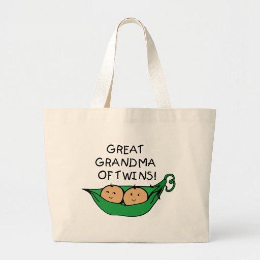 Gran abuela de la vaina de los gemelos bolsa tela grande