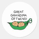 Gran abuela de la vaina de los gemelos pegatinas redondas