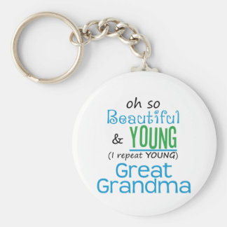 Gran abuela hermosa y joven llaveros