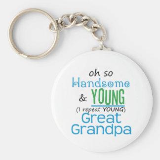 Gran abuelo hermoso y joven llavero personalizado