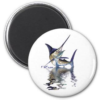 Gran aguja con la reflexión en agua imán redondo 5 cm