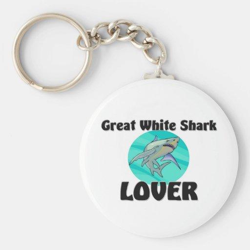 Gran amante del tiburón blanco llaveros