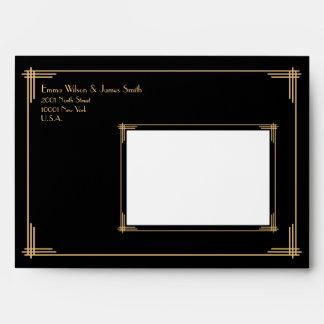 Gran art déco de Gatsby del oro negro que casa Sobre