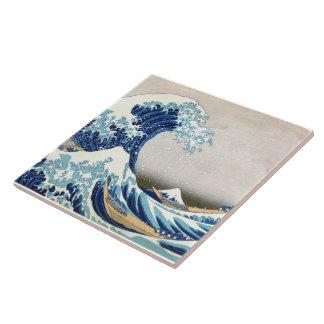 Gran arte del japonés del vintage de Hokusai de la Azulejos