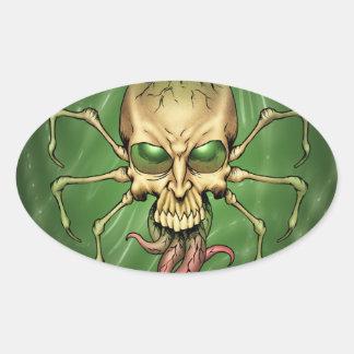 Gran arte extranjero de Lovecraftian del cráneo de Pegatina Ovalada
