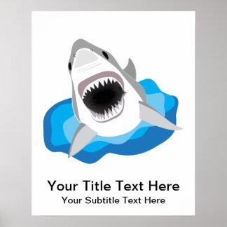 Gran ataque del tiburón blanco póster