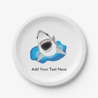 Gran ataque del tiburón blanco plato de papel 17,78 cm