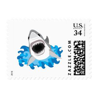 Gran ataque del tiburón blanco sellos