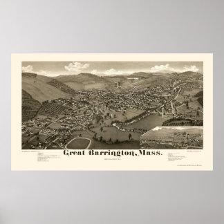 Gran Barrington, mapa panorámico del mA - 1884 Posters