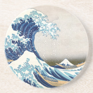 Gran bella arte de la onda de Hokusai Posavasos Personalizados