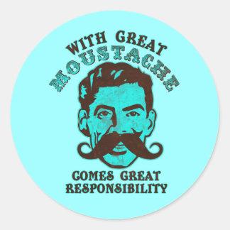 Gran bigote pegatina redonda