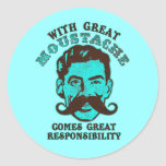 Gran bigote pegatinas redondas