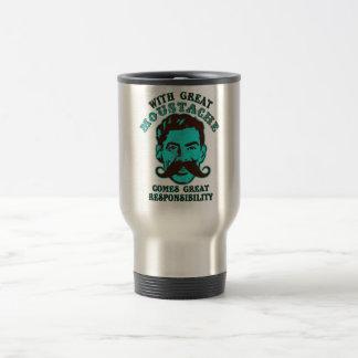 Gran bigote taza de viaje de acero inoxidable