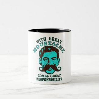 Gran bigote taza de dos tonos