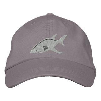 Gran blanco del tiburón gorra de béisbol bordada
