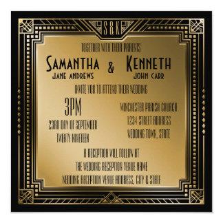 """Gran boda geométrico de Gatsby del oro negro y Invitación 5.25"""" X 5.25"""""""