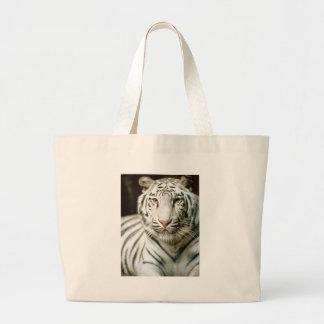 Gran bolso blanco de la playa del tigre bolsa tela grande