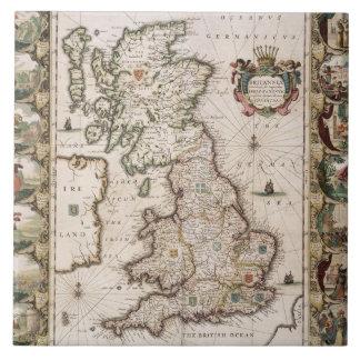 Gran Bretaña como fue dividida en el Tyme del Engl Azulejo Cuadrado Grande