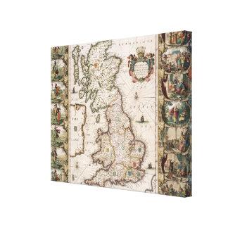 Gran Bretaña como fue dividida en el Tyme del Engl Impresión En Lona