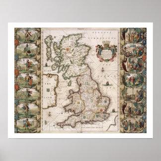 Gran Bretaña como fue dividida en el Tyme del Engl Poster
