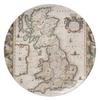Gran Bretaña como fue dividida en el Tyme del Engl Plato Para Fiesta