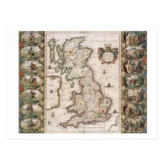 Gran Bretaña como fue dividida en el Tyme del Engl Tarjeta Postal