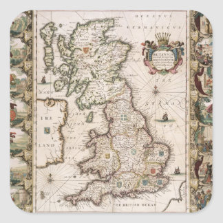 Gran Bretaña como fue dividida en el Tyme del Pegatina Cuadrada